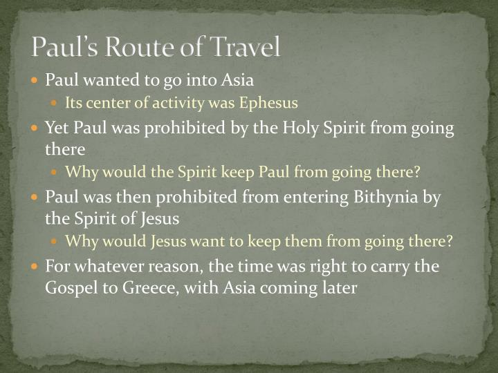 Paul's Route of Travel