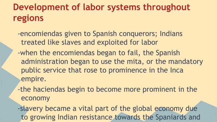 Development of labor systems throughout regions