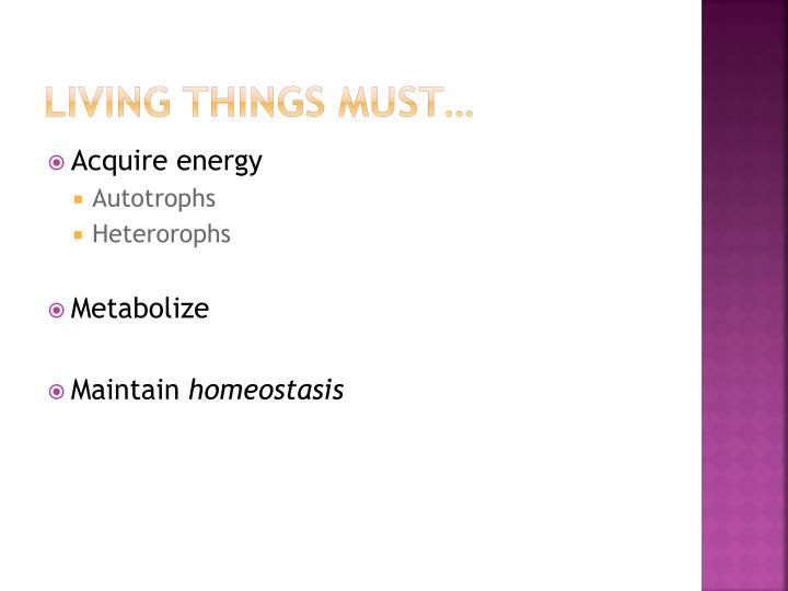 Living things must…