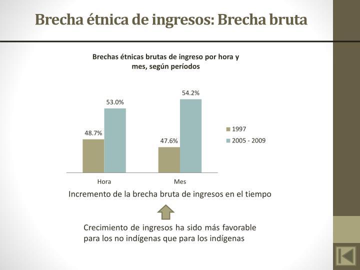 Brecha étnica de ingresos: Brecha bruta