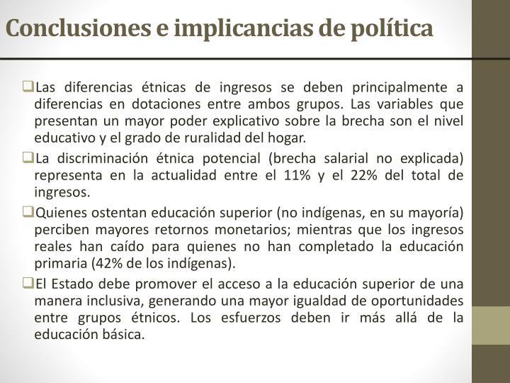 Conclusiones e implicancias de política