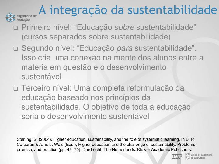 A integração da sustentabilidade