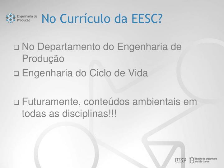 No Currículo da EESC?