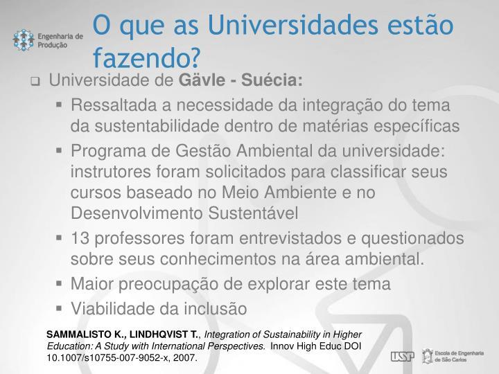 O que as Universidades estão fazendo?