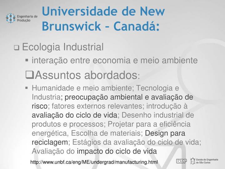 Universidade de New Brunswick – Canadá: