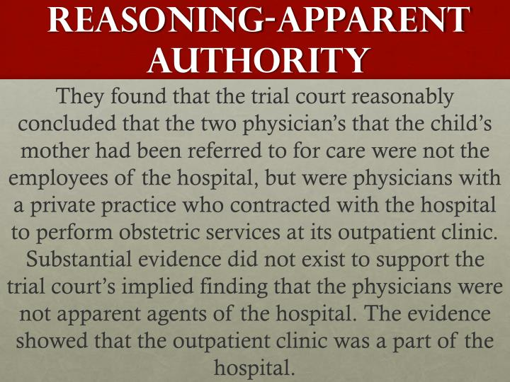 Reasoning-apparent authority