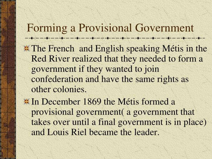 Forming a Provisional Government