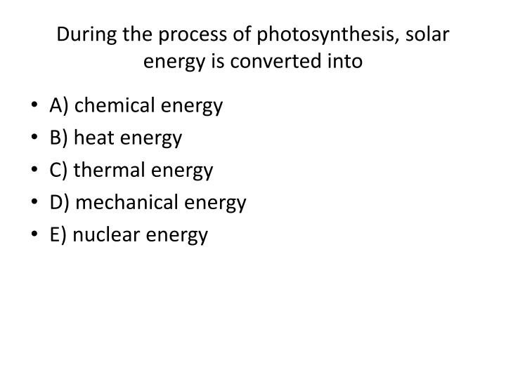 During the process of photosynthesis, solar energy is converted into