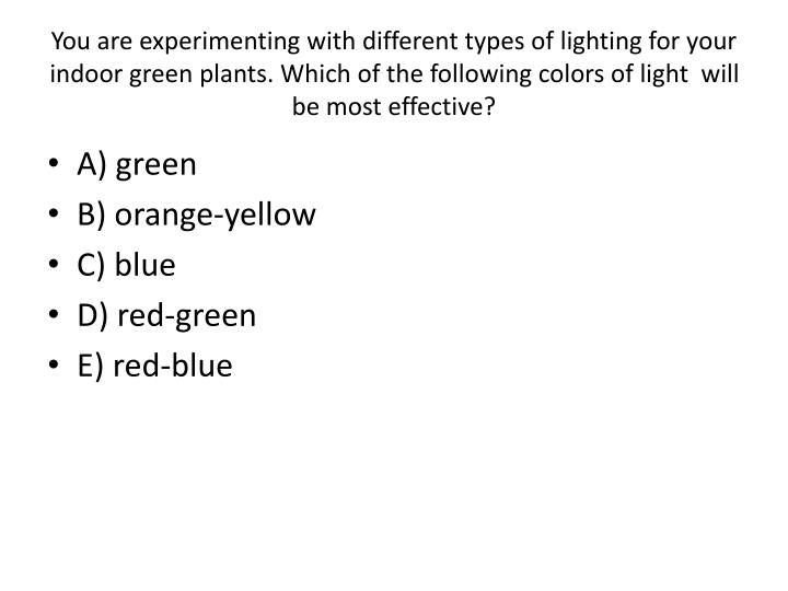 You are experimenting with different types of lighting for your indoor green plants. Which of the following colors of light  will be most effective?
