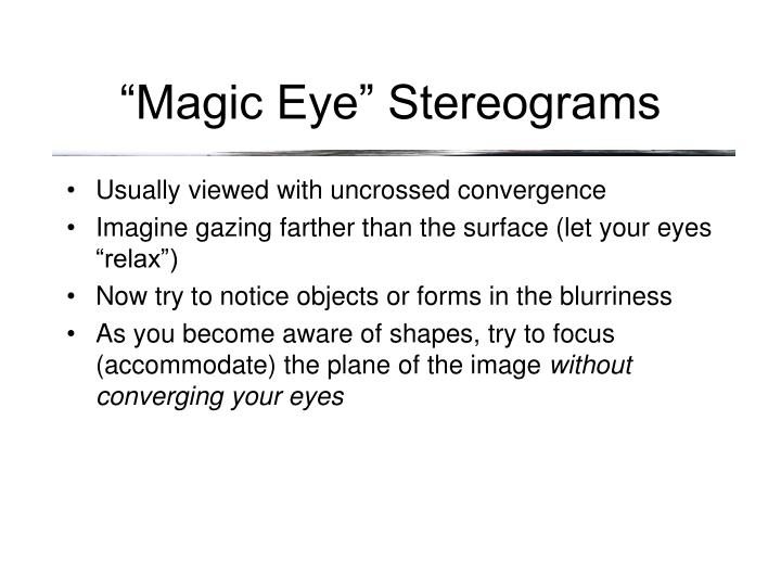 """Magic Eye"" Stereograms"