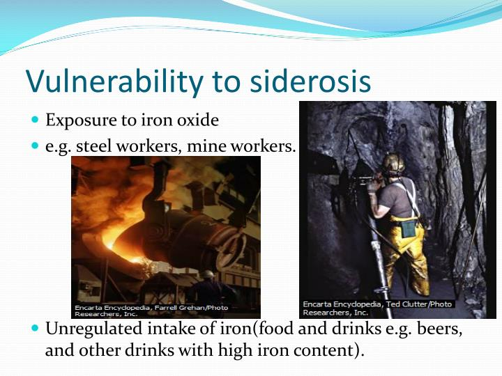 Vulnerability to siderosis