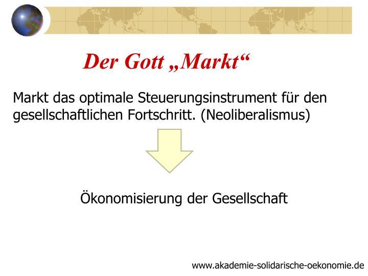 """Der Gott """"Markt"""""""