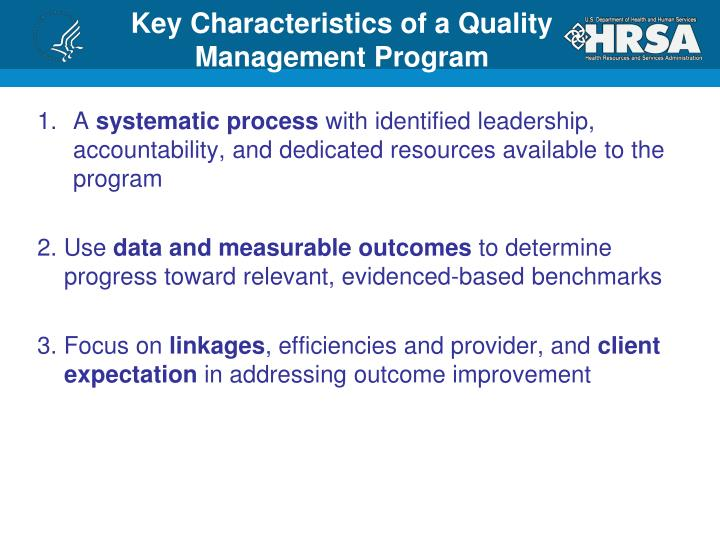 Key Characteristics of a Quality