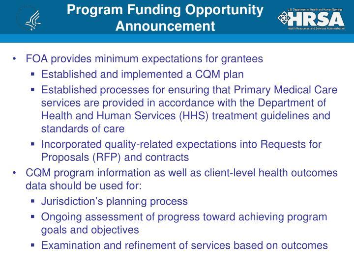 Program Funding Opportunity Announcement