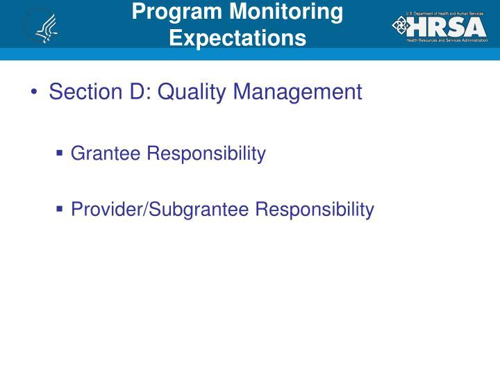 Program Monitoring Expectations