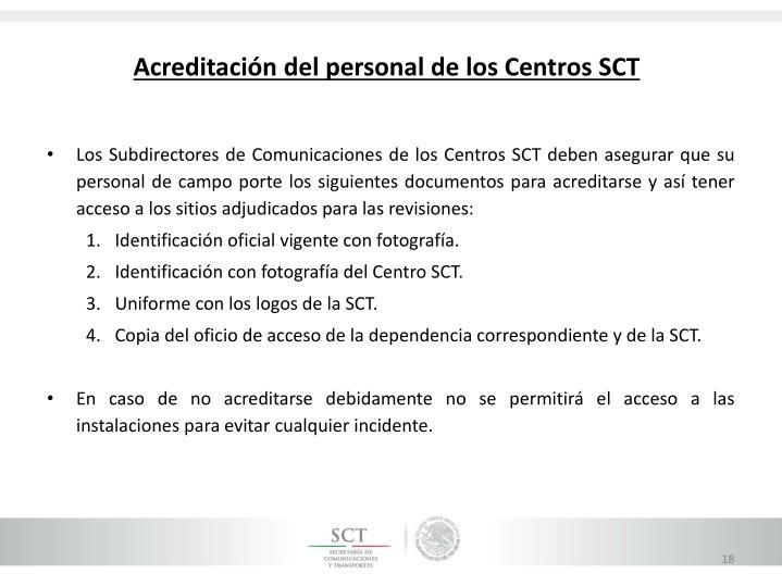 Acreditación del personal de los Centros SCT