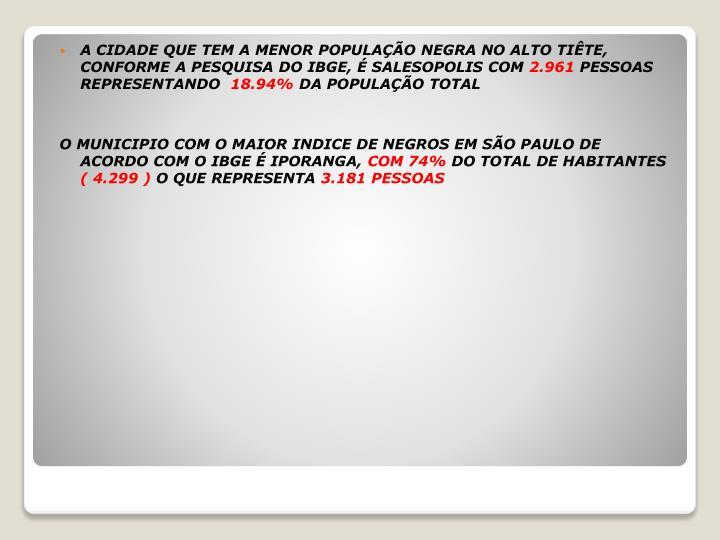 A CIDADE QUE TEM A MENOR POPULAÇÃO NEGRA NO ALTO TIÊTE, CONFORME A PESQUISA DO IBGE, É SALESOPOLIS COM