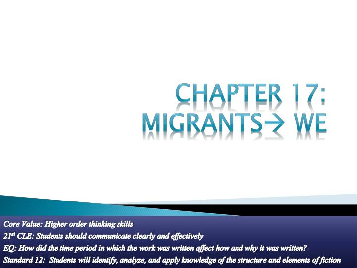 Chapter 17 migrants we
