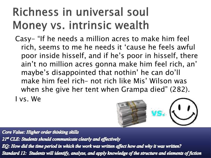 Richness in universal soul