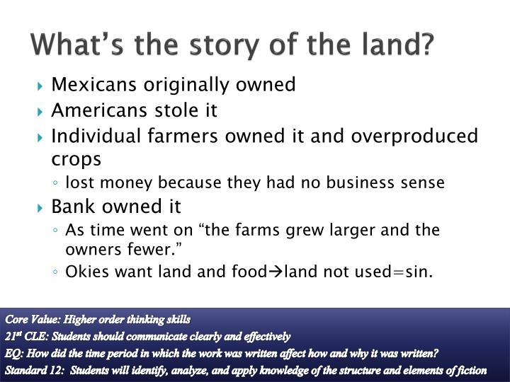 What's the story of the land?
