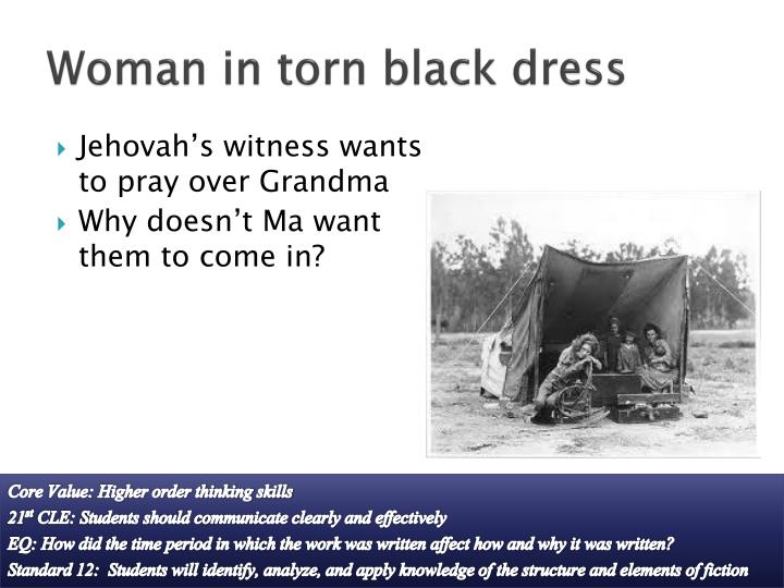 Woman in torn black dress