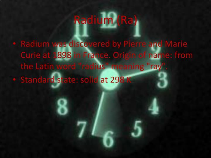 Radium (Ra)