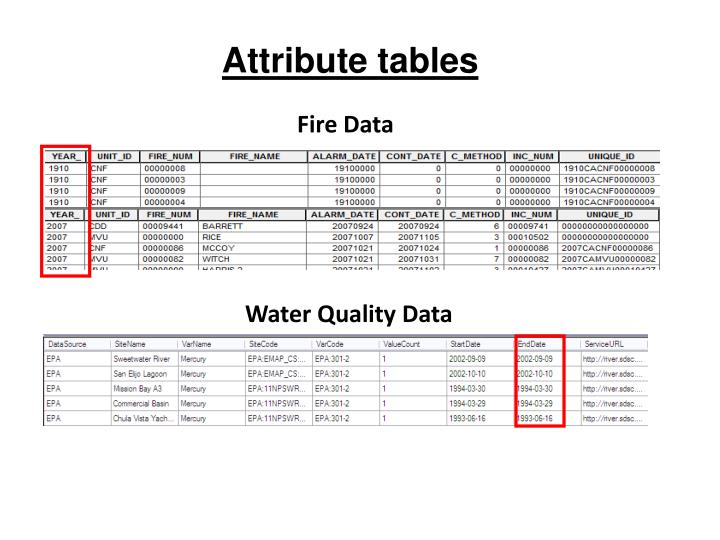 Attribute tables