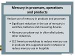 mercury in processes operations and products