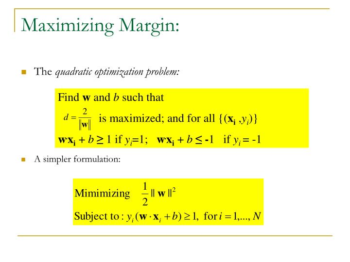 Maximizing Margin: