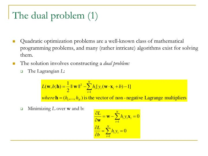 The dual problem (1)