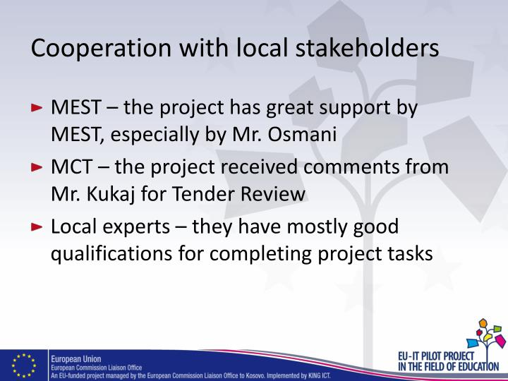 Cooperation with local stakeholders