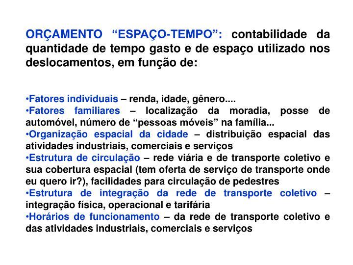 """ORÇAMENTO """"ESPAÇO-TEMPO"""":"""