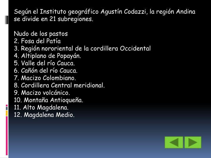 Según el Instituto geográfico Agustín Codazzi, la región Andina se divide en 21 subregiones.