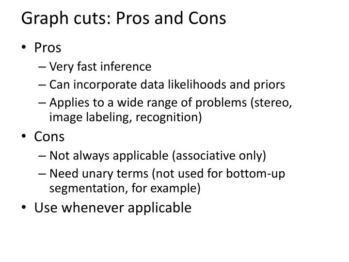 Graph cuts: Pros and Cons