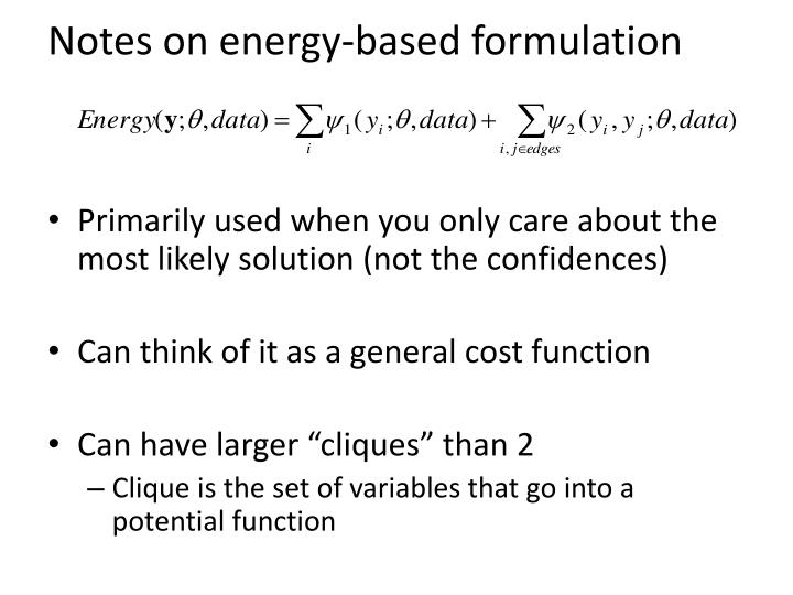 Notes on energy-based formulation