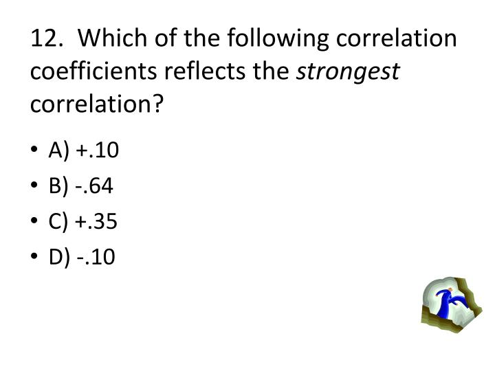 12.  Which of the following correlation coefficients reflects the