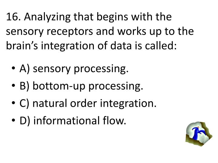16. Analyzing that begins with the sensory receptors and works up to the brains integration of data is called: