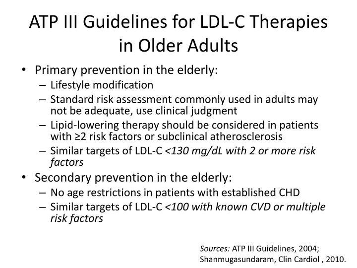 ATP III Guidelines for LDL-C Therapies in Older Adults