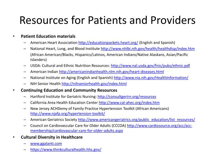Resources for Patients and Providers
