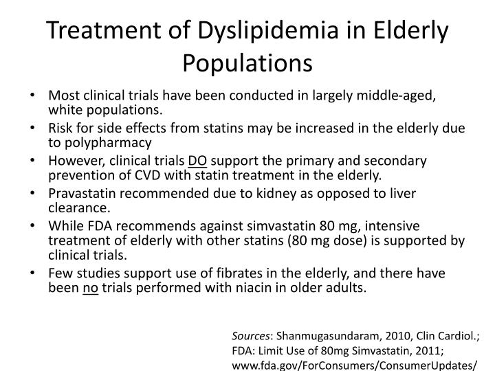 Treatment of Dyslipidemia in Elderly Populations