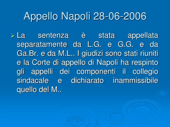 Appello Napoli 28-06-2006