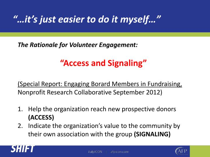 The Rationale for Volunteer Engagement: