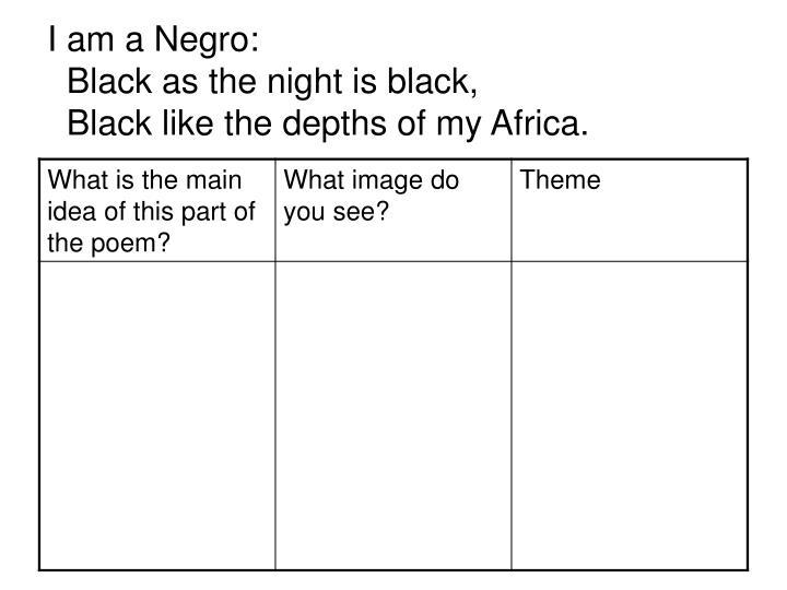 I am a Negro: