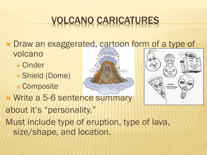 Draw an exaggerated, cartoon form of a type of volcano