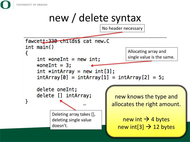 new / delete syntax