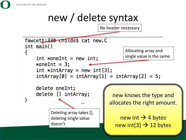new / delete syntax