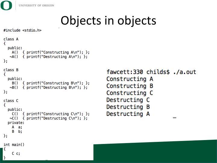 Objects in objects