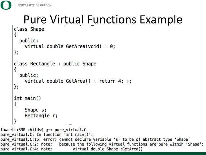 Pure Virtual Functions Example