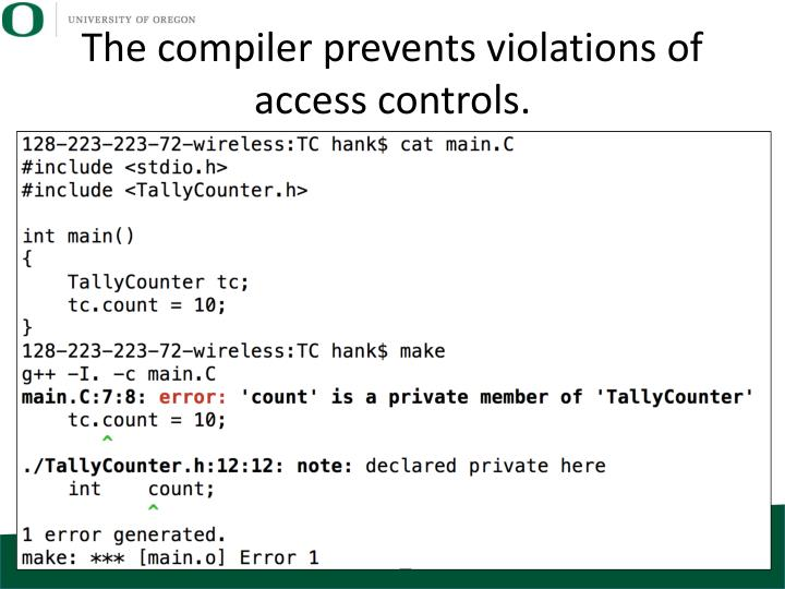 The compiler prevents violations of access controls.
