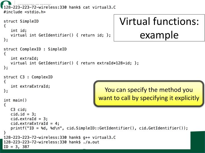 Virtual functions: example